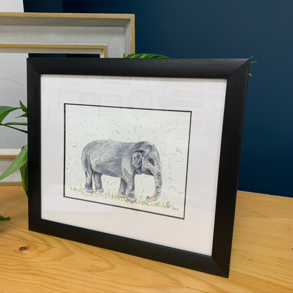 'at the green elephant sanctuary' original - framed
